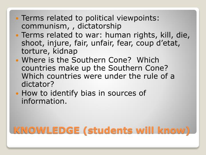 Terms related to political viewpoints: communism, , dictatorship