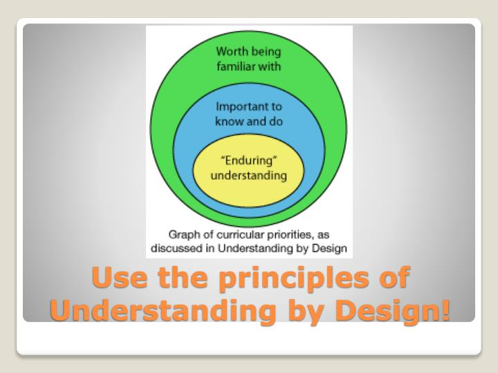 Use the principles of Understanding by Design!