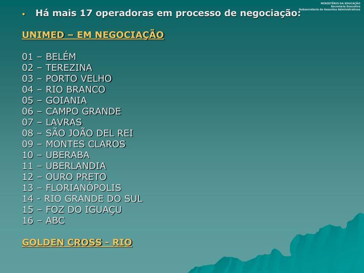 Há mais 17 operadoras em processo de negociação: