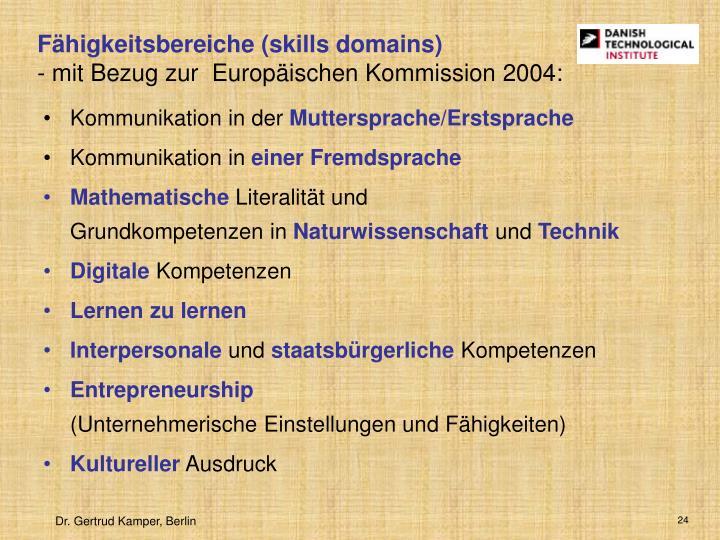 Fähigkeitsbereiche (skills domains)