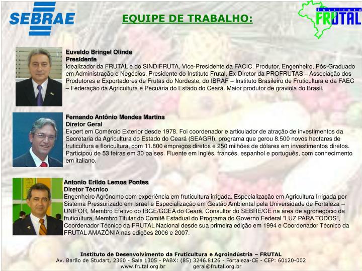 EQUIPE DE TRABALHO: