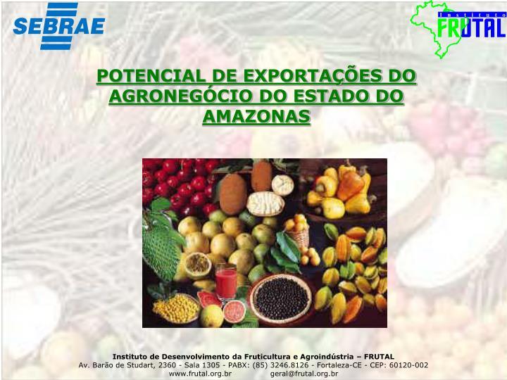 POTENCIAL DE EXPORTAÇÕES DO AGRONEGÓCIO DO ESTADO DO AMAZONAS