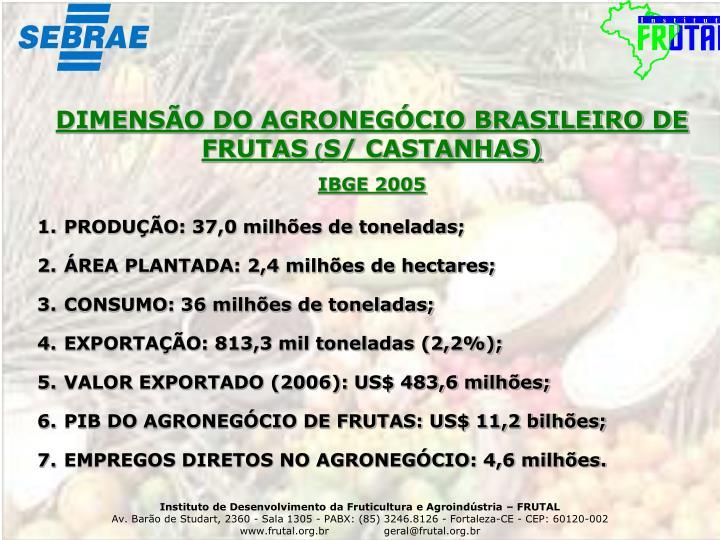DIMENSÃO DO AGRONEGÓCIO BRASILEIRO DE FRUTAS