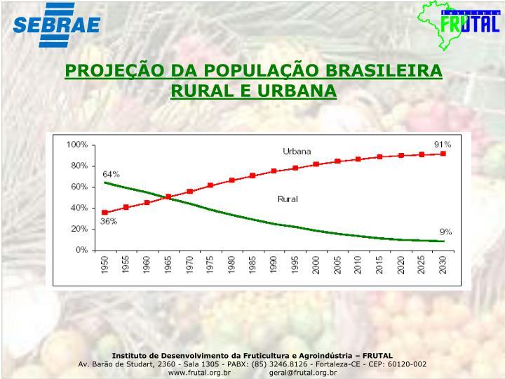 PROJEÇÃO DA POPULAÇÃO BRASILEIRA RURAL E URBANA
