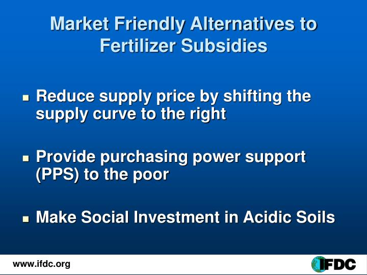 Market Friendly Alternatives to Fertilizer Subsidies