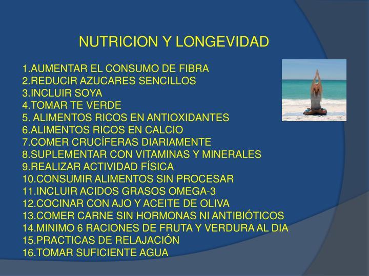 NUTRICION Y LONGEVIDAD