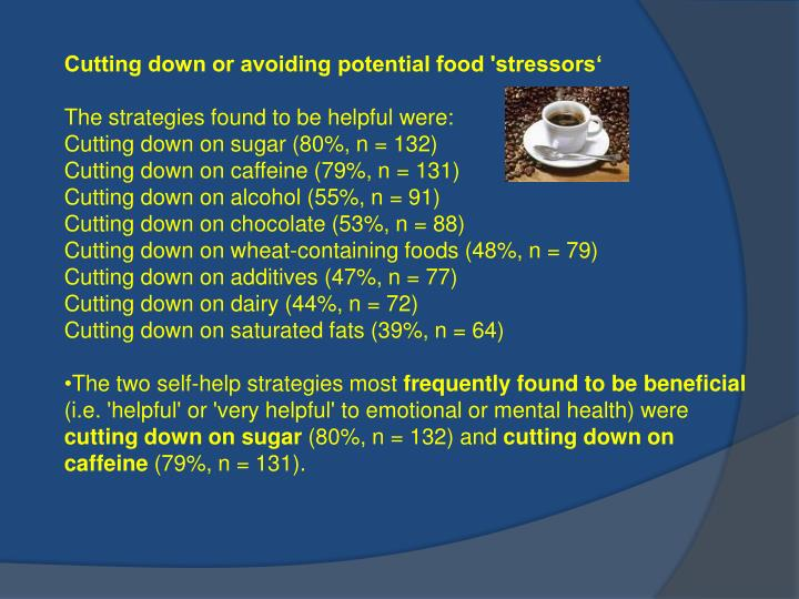 Cutting down or avoiding potential food 'stressors'