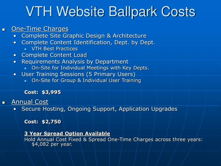 VTH Website Ballpark Costs