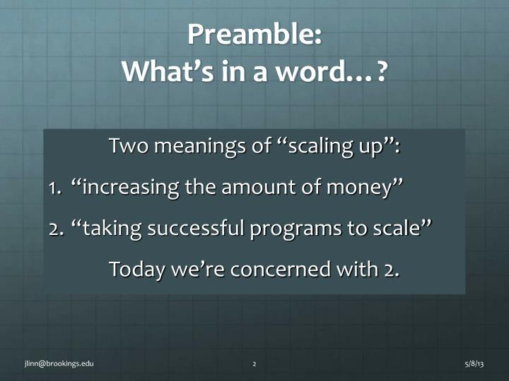 Preamble what s in a word