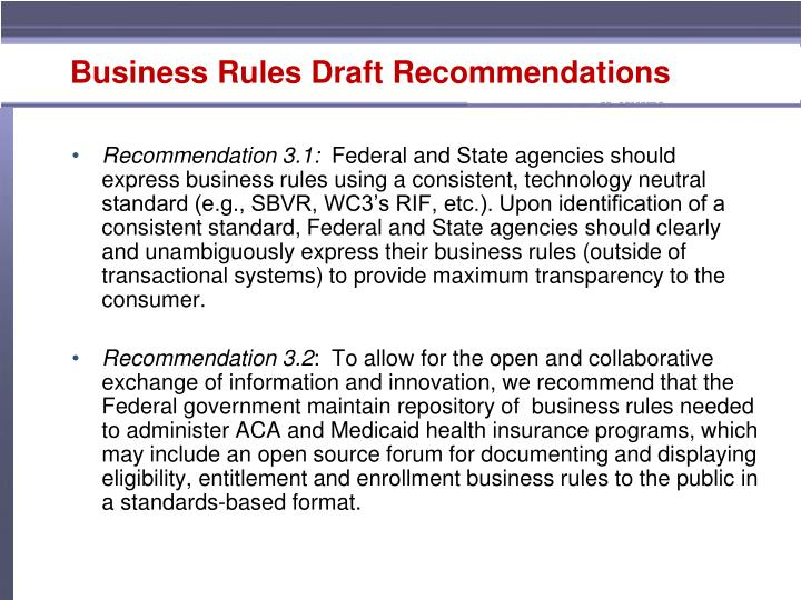 Business Rules Draft Recommendations
