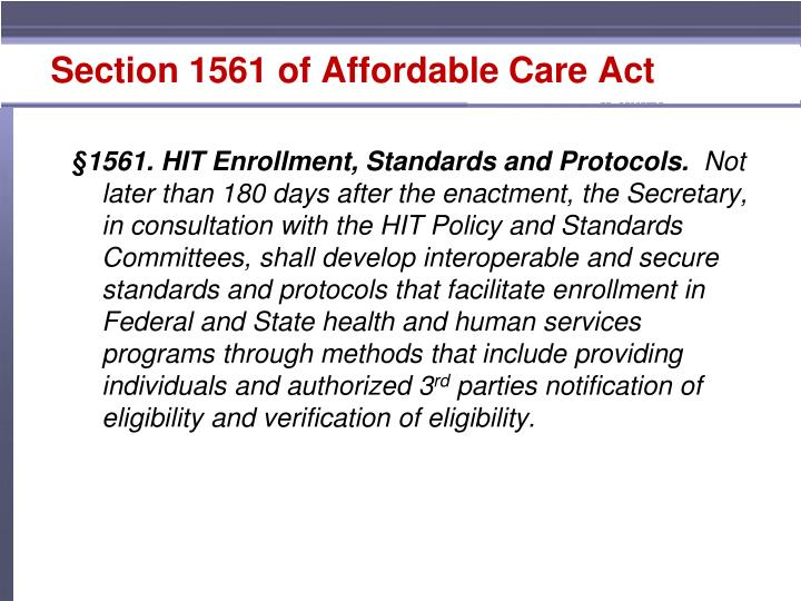Section 1561 of Affordable Care Act