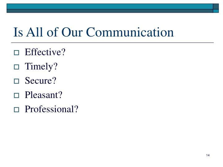Is All of Our Communication