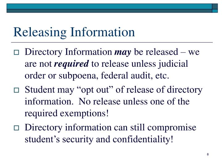 Releasing Information