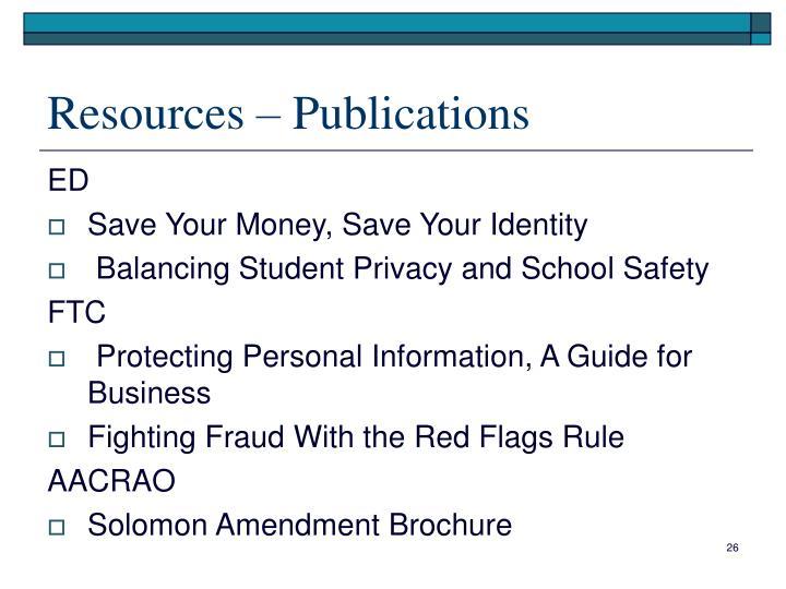 Resources – Publications