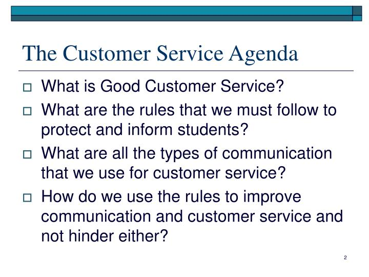 The Customer Service Agenda