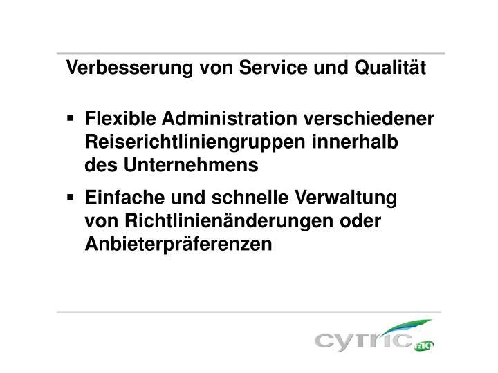 Verbesserung von Service und Qualität