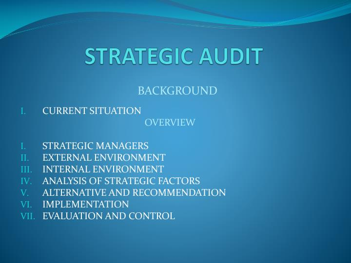 Strategic audit