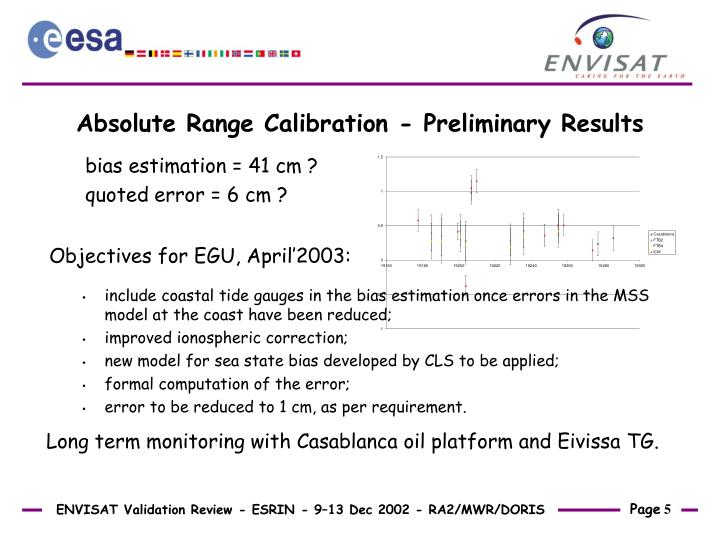 Absolute Range Calibration - Preliminary Results