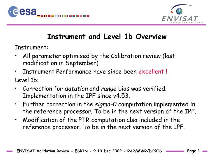 Instrument and level 1b overview