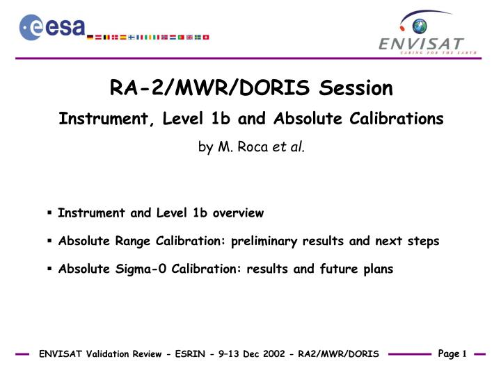 RA-2/MWR/DORIS Session