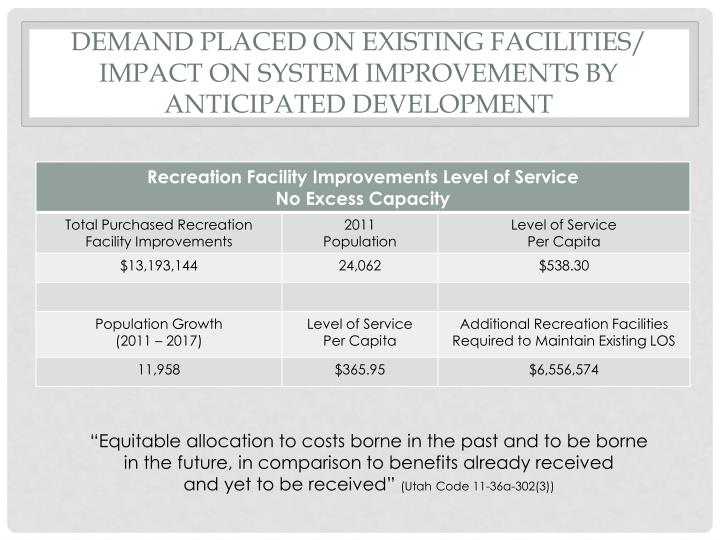 Demand placed on existing facilities impact on system improvements by anticipated development