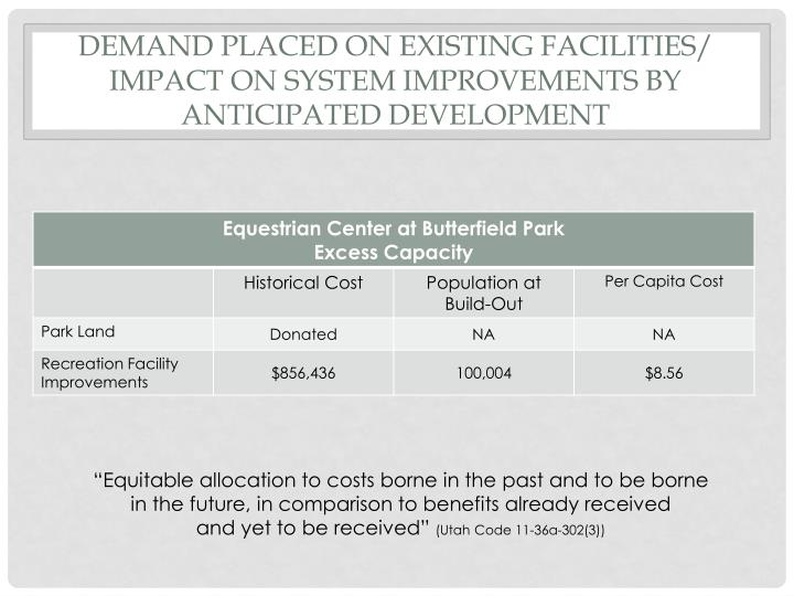 Demand Placed On Existing Facilities/