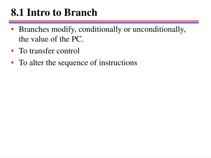 8.1 Intro to Branch