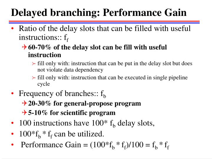 Delayed branching: Performance Gain