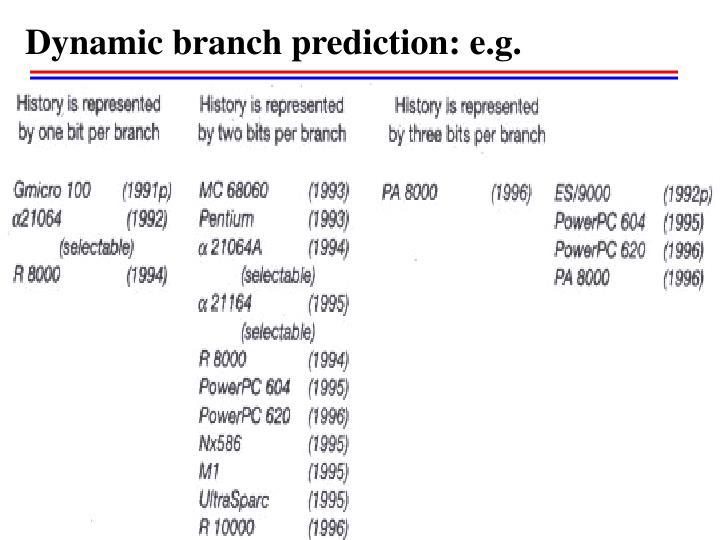 Dynamic branch prediction: e.g.
