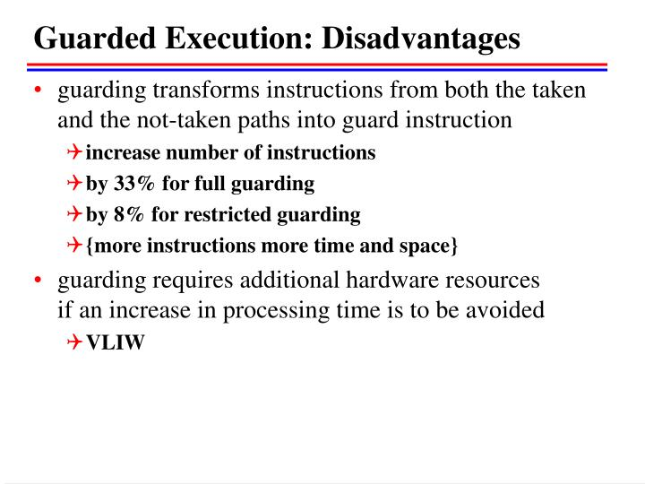 Guarded Execution: Disadvantages