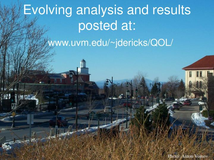 Evolving analysis and results posted at: