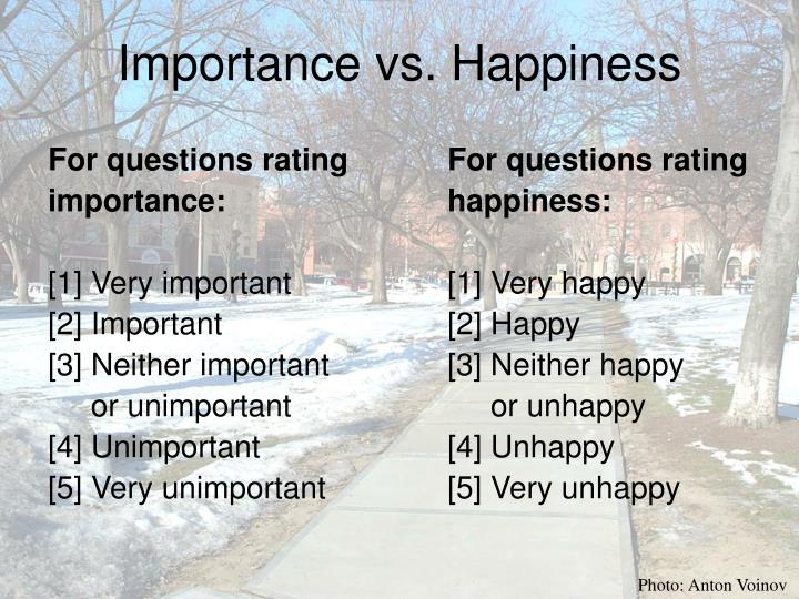 Importance vs. Happiness
