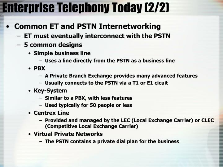 Enterprise Telephony Today (2/2)