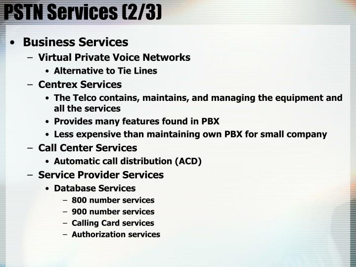 PSTN Services (2/3)