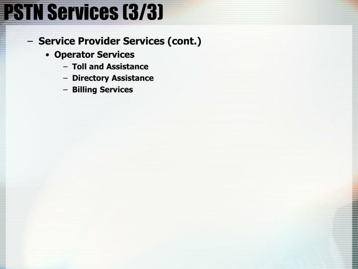 PSTN Services (3/3)