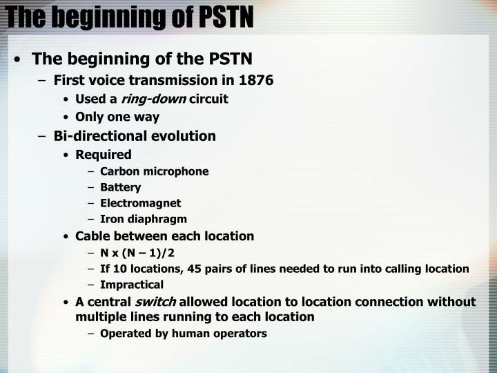 The beginning of PSTN