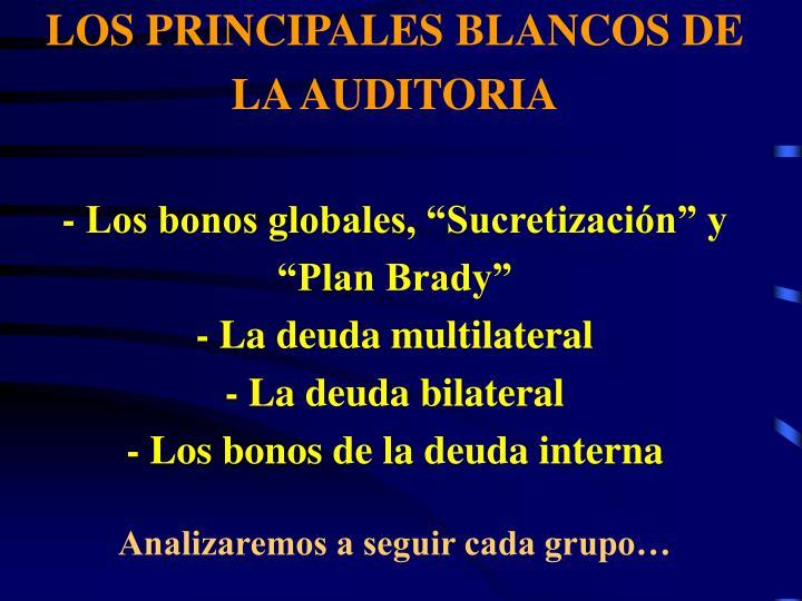 LOS PRINCIPALES BLANCOS DE LA AUDITORIA