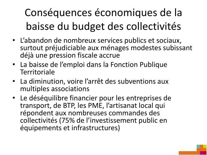 Conséquences économiques de la baisse du budget des collectivités