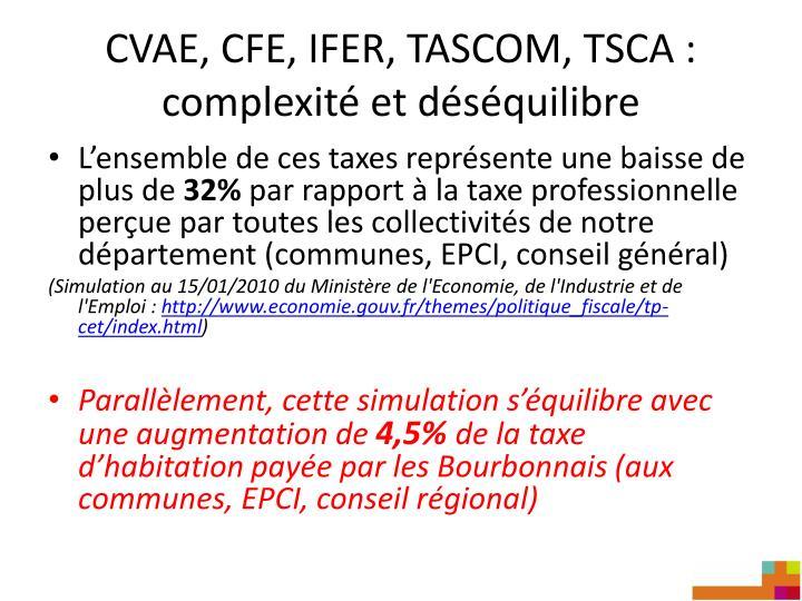 CVAE, CFE, IFER, TASCOM, TSCA : complexité et déséquilibre