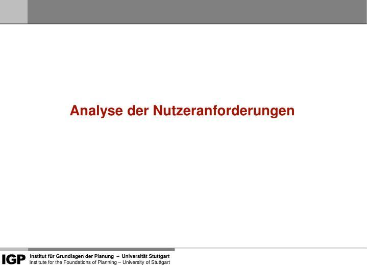 Analyse der Nutzeranforderungen