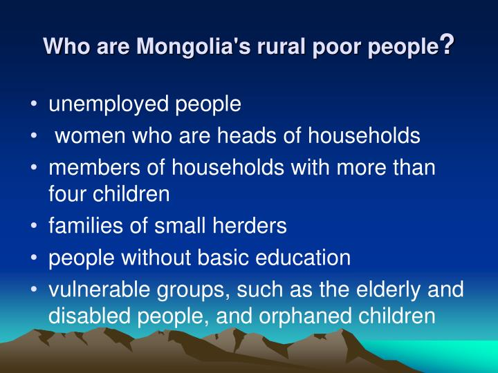 Who are Mongolia's rural poor people