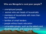 who are mongolia s rural poor people