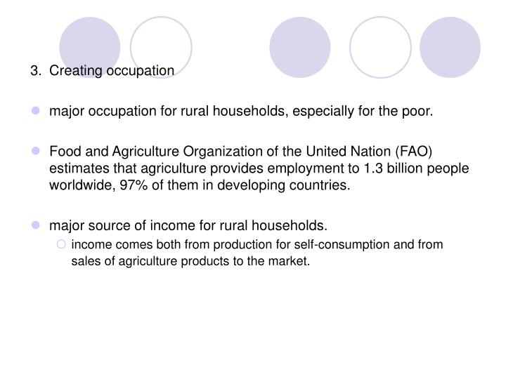 3.	Creating occupation