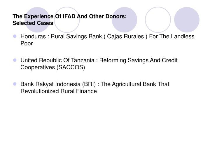 The Experience Of IFAD And Other Donors: