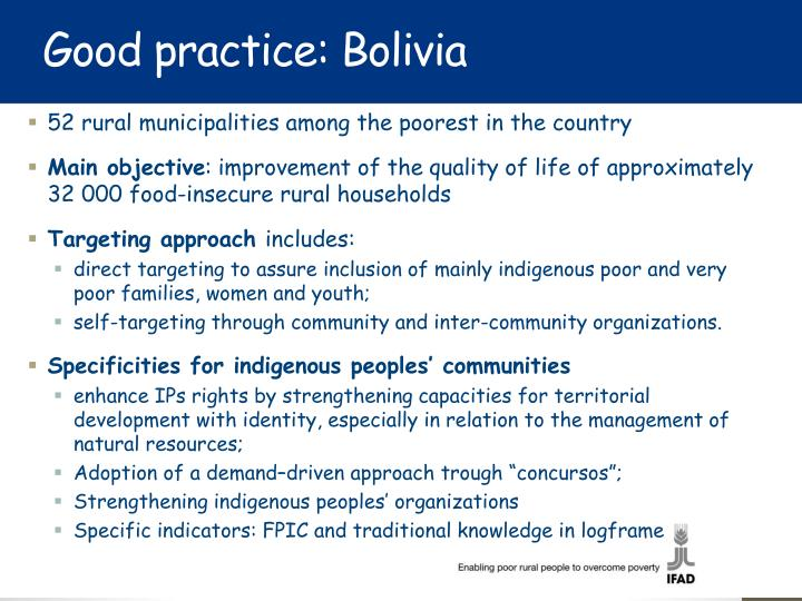 Good practice: Bolivia