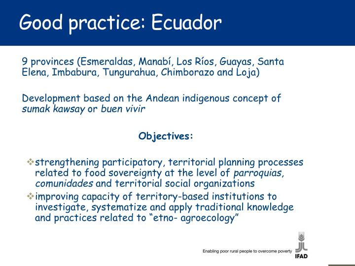 Good practice: Ecuador