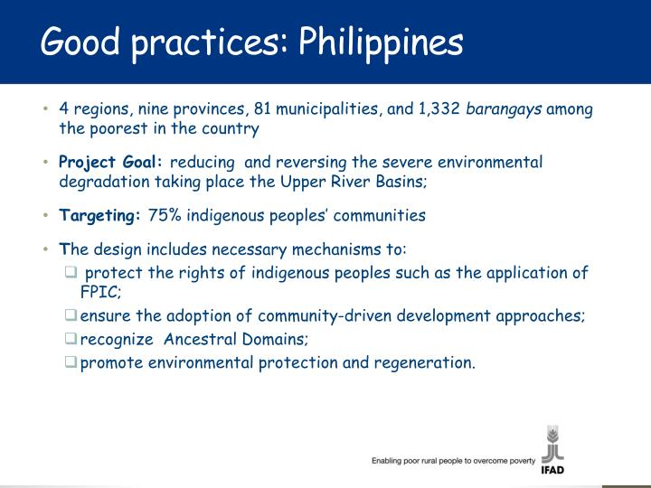 Good practices: Philippines