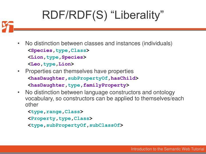 "RDF/RDF(S) ""Liberality"""