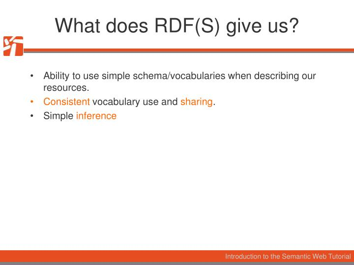 What does RDF(S) give us?