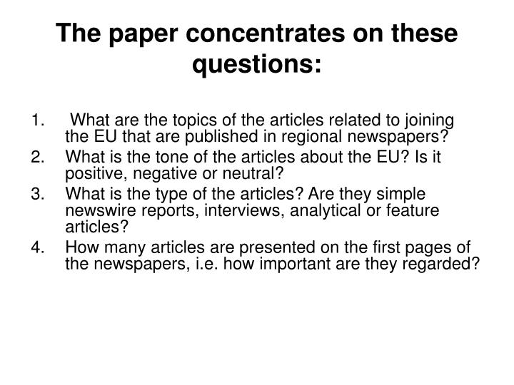 The paper concentrates on these questions